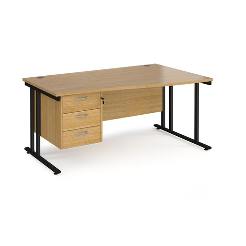 Maestro 25 right hand wave desk 1600mm wide with 3 drawer pedestal - black cantilever leg frame and oak top