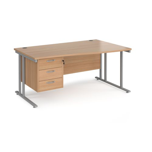 Maestro 25 right hand wave desk 1600mm wide with 3 drawer pedestal - silver cantilever leg frame and beech top