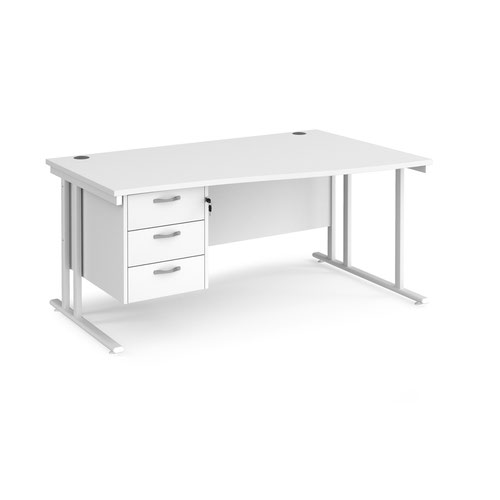 Maestro 25 right hand wave desk 1600mm wide with 3 drawer pedestal - white cantilever leg frame and white top