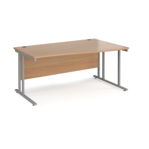 Maestro 25 right hand wave desk 1600mm wide - silver cantilever leg frame and beech top