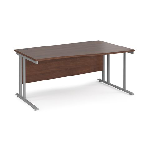 Maestro 25 right hand wave desk 1600mm wide - silver cantilever leg frame and walnut top