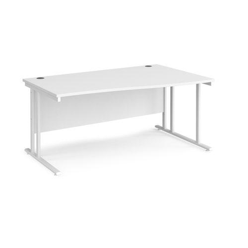 Maestro 25 right hand wave desk 1600mm wide - white cantilever leg frame and white top