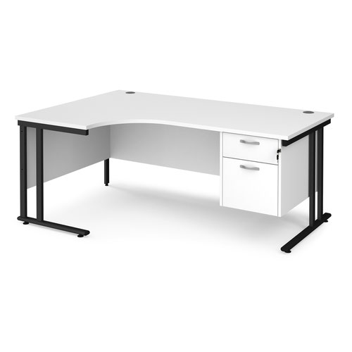 Maestro 25 left hand ergonomic desk 1800mm wide with 2 drawer pedestal - black cantilever leg frame and white top