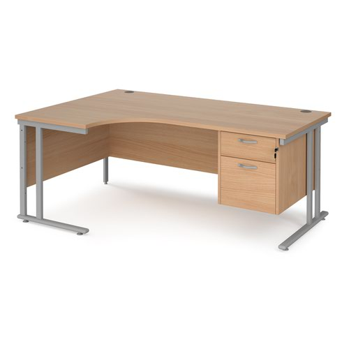 Maestro 25 left hand ergonomic desk 1800mm wide with 2 drawer pedestal - silver cantilever leg frame and beech top