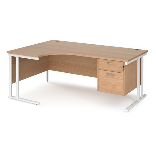 Maestro 25 left hand ergonomic desk 1800mm wide with 2 drawer pedestal - white cantilever leg frame and beech top