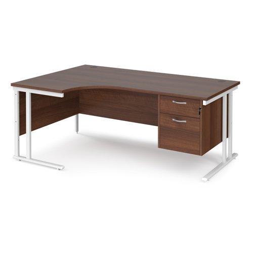Maestro 25 left hand ergonomic desk 1800mm wide with 2 drawer pedestal - white cantilever leg frame and walnut top