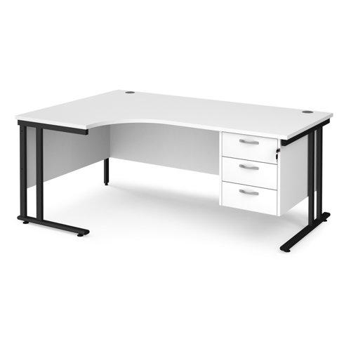 Maestro 25 left hand ergonomic desk 1800mm wide with 3 drawer pedestal - black cantilever leg frame and white top