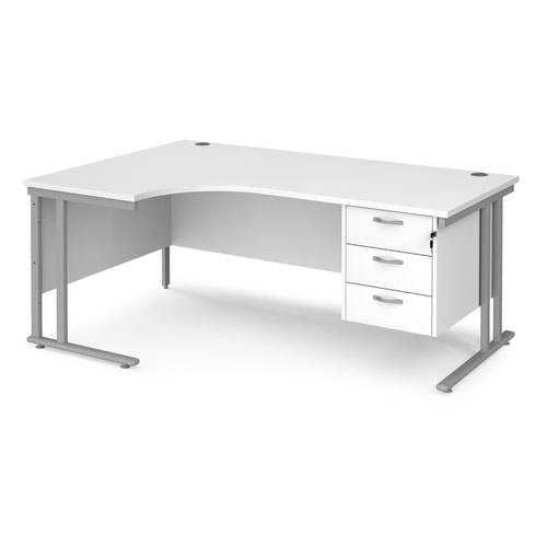 Maestro 25 left hand ergonomic desk 1800mm wide with 3 drawer pedestal - silver cantilever leg frame and white top
