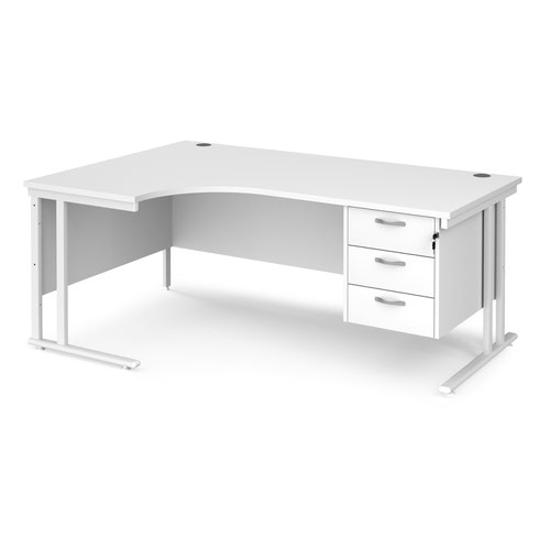 Maestro 25 left hand ergonomic desk 1800mm wide with 3 drawer pedestal - white cantilever leg frame and white top