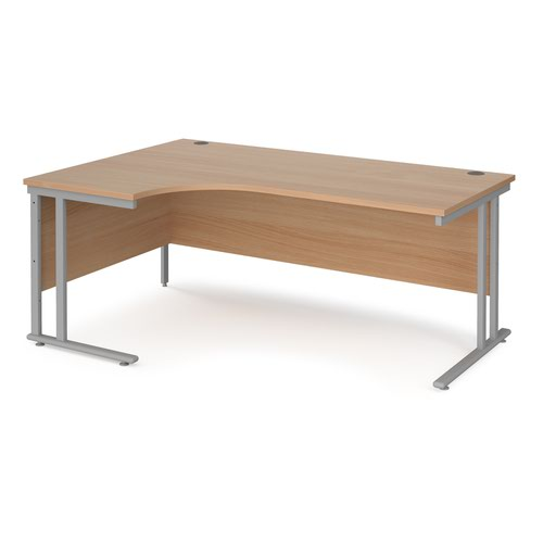 Maestro 25 left hand ergonomic desk 1800mm wide - silver cantilever leg frame and beech top