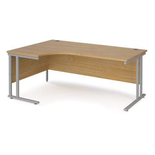 Maestro 25 Sl Sil Dble Uprgt Cant LH Ergo Desk 1800mm X 1200/800/600 Oak 25mm Top 18mm Back Panel