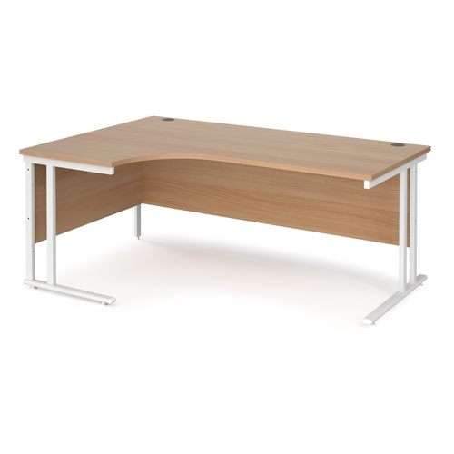 Maestro 25 left hand ergonomic desk 1800mm wide - white cantilever leg frame and beech top