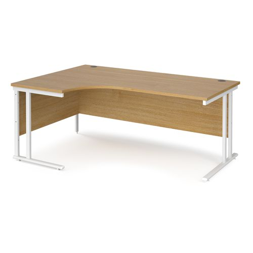 Maestro 25 left hand ergonomic desk 1800mm wide - white cantilever leg frame and oak top