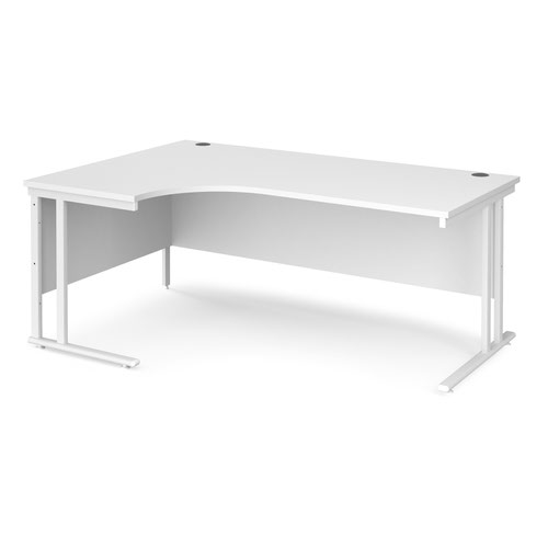 Maestro 25 left hand ergonomic desk 1800mm wide - white cantilever leg frame and white top
