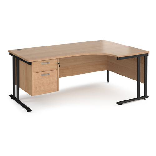Maestro 25 right hand ergonomic desk 1800mm wide with 2 drawer pedestal - black cantilever leg frame and beech top