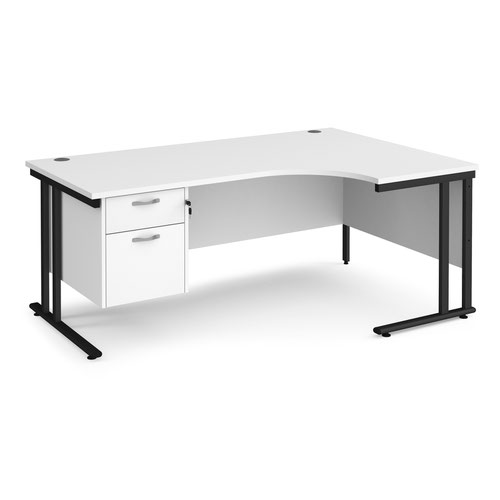 Maestro 25 right hand ergonomic desk 1800mm wide with 2 drawer pedestal - black cantilever leg frame and white top