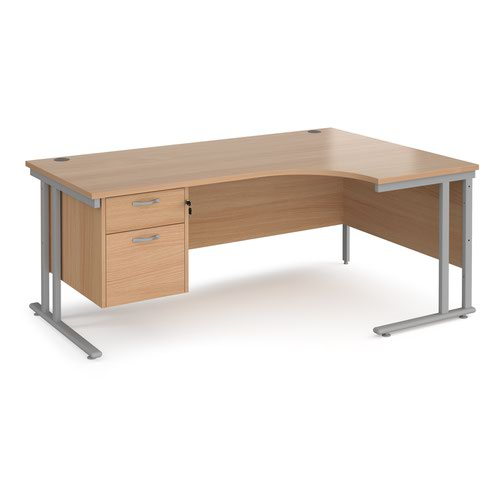 Maestro 25 right hand ergonomic desk 1800mm wide with 2 drawer pedestal - silver cantilever leg frame and beech top