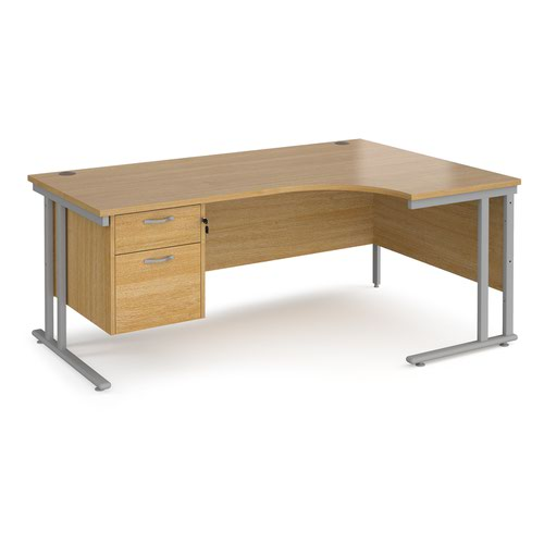 Maestro 25 right hand ergonomic desk 1800mm wide with 2 drawer pedestal - silver cantilever leg frame and oak top