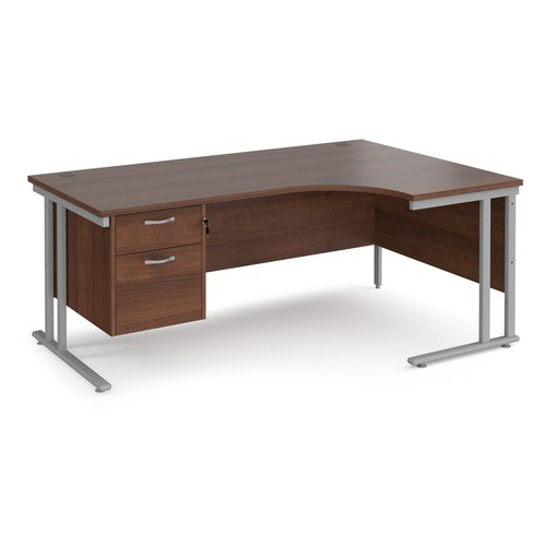 Maestro 25 right hand ergonomic desk 1800mm wide with 2 drawer pedestal - silver cantilever leg frame and walnut top
