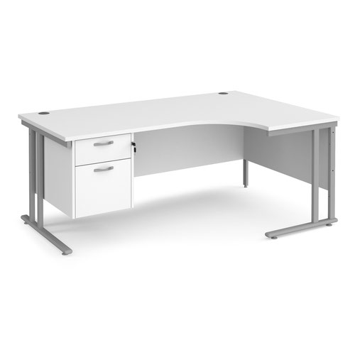 Maestro 25 right hand ergonomic desk 1800mm wide with 2 drawer pedestal - silver cantilever leg frame and white top