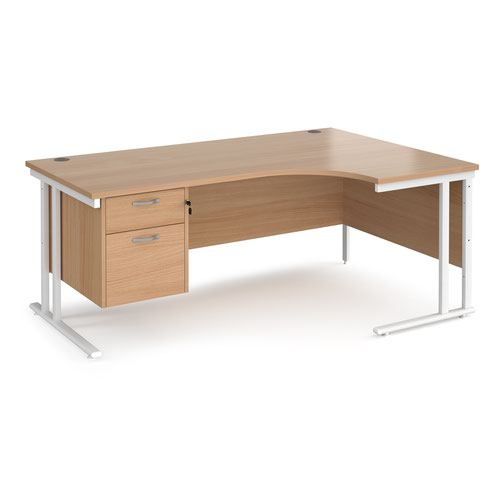 Maestro 25 right hand ergonomic desk 1800mm wide with 2 drawer pedestal - white cantilever leg frame and beech top