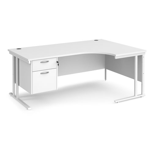 Maestro 25 right hand ergonomic desk 1800mm wide with 2 drawer pedestal - white cantilever leg frame and white top