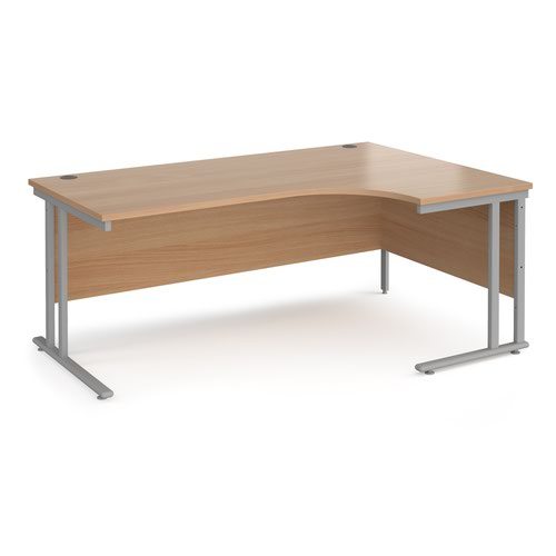 Maestro 25 right hand ergonomic desk 1800mm wide - silver cantilever leg frame and beech top