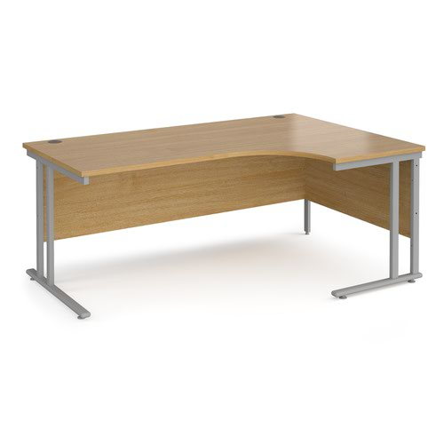 Maestro 25 Sl Sil Dble Uprgt Cant RH Ergo Desk 1800mm X 1200/800/600 Oak 25mm Top 18mm Back Panel