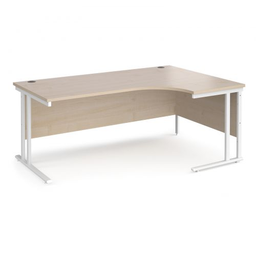Maestro 25 right hand ergonomic desk 1800mm wide - white cantilever leg frame and maple top