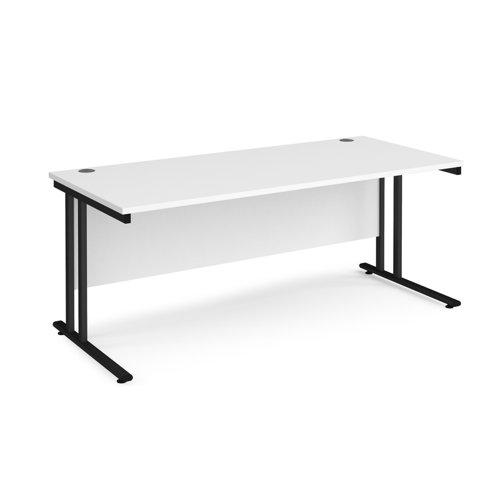 Maestro 25 straight desk 1800mm x 800mm - black cantilever leg frame and white top