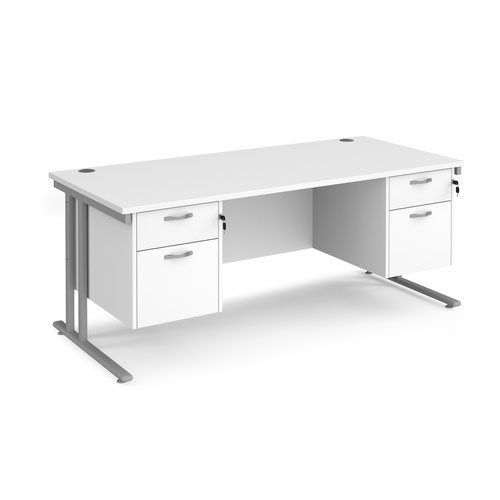 Maestro 25 straight desk 1800mm x 800mm with two x 2 drawer pedestals - silver cantilever leg frame and white top