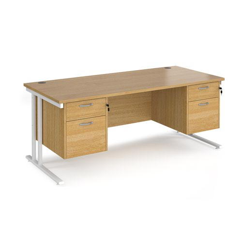 Maestro 25 straight desk 1800mm x 800mm with two x 2 drawer pedestals - white cantilever leg frame and oak top