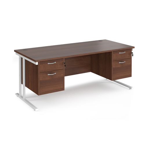 Maestro 25 straight desk 1800mm x 800mm with two x 2 drawer pedestals - white cantilever leg frame and walnut top