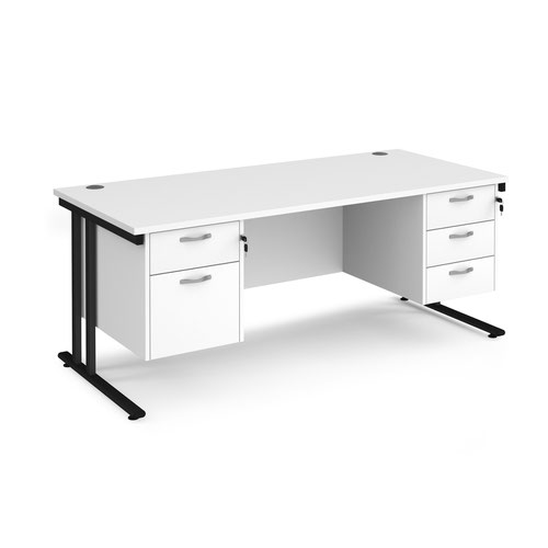 Maestro 25 straight desk 1800mm x 800mm with 2 and 3 drawer pedestals - black cantilever leg frame and white top