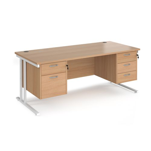 Maestro 25 straight desk 1800mm x 800mm with 2 and 3 drawer pedestals - white cantilever leg frame and beech top