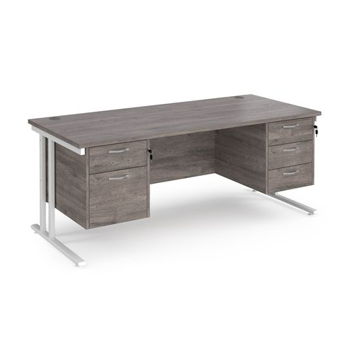 Maestro 25 straight desk 1800mm x 800mm with 2 and 3 drawer pedestals - white cantilever leg frame and grey oak top