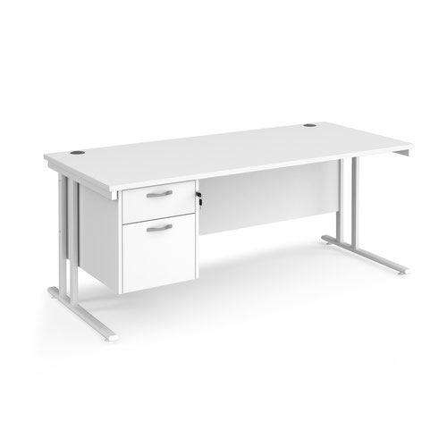 Maestro 25 straight desk 1800mm x 800mm with 2 drawer pedestal - white cantilever leg frame and white top