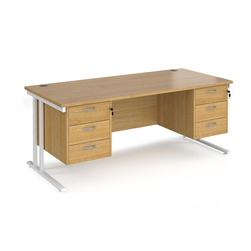 Maestro 25 straight desk 1800mm x 800mm with two x 3 drawer pedestals - white cantilever leg frame and oak top