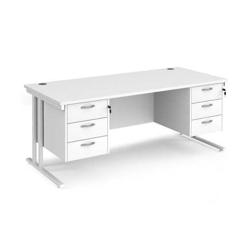 Maestro 25 straight desk 1800mm x 800mm with two x 3 drawer pedestals - white cantilever leg frame and white top