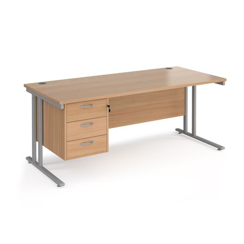 Maestro 25 straight desk 1800mm x 800mm with 3 drawer pedestal - silver cantilever leg frame and beech top