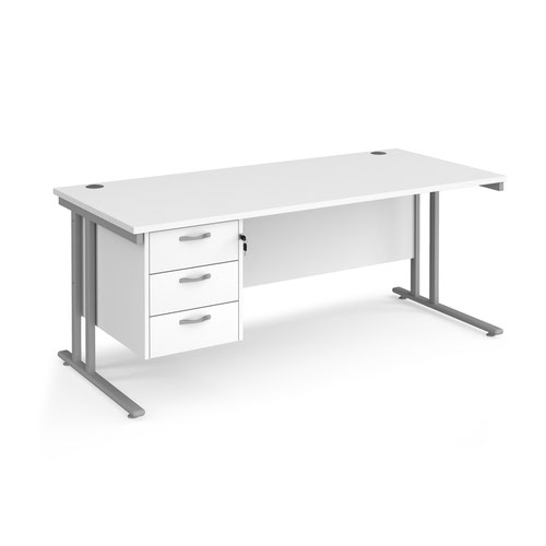 Maestro 25SL Rectangular Desk 3 Drawer Pedestal 1800x800x725mm White MC18P3SWH