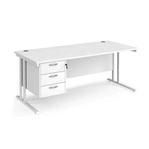 Maestro 25 straight desk 1800mm x 800mm with 3 drawer pedestal - white cantilever leg frame and white top