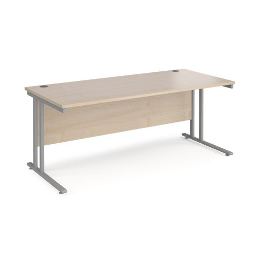 Maestro 25 straight desk 1800mm x 800mm - silver cantilever leg frame and maple top