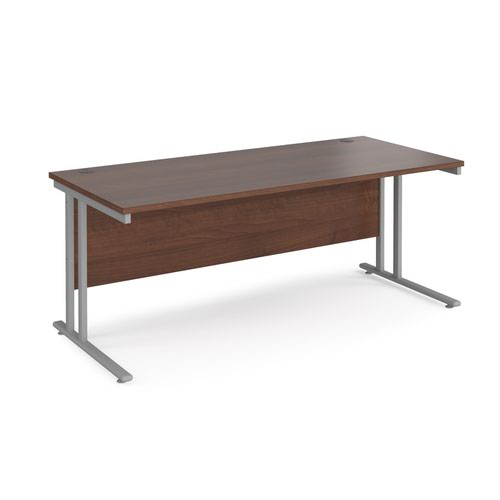 Maestro 25 straight desk 1800mm x 800mm - silver cantilever leg frame and walnut top