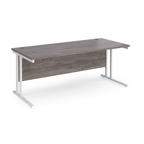 Maestro 25 straight desk 1800mm x 800mm - white cantilever leg frame and grey oak top