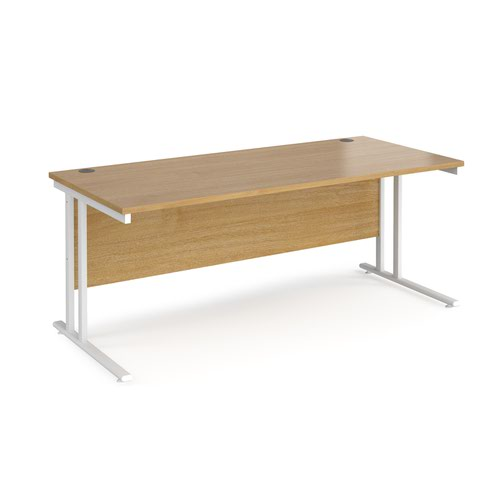 Maestro 25 straight desk 1800mm x 800mm - white cantilever leg frame and oak top