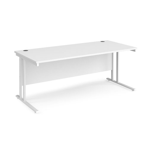 Maestro 25 straight desk 1800mm x 800mm - white cantilever leg frame and white top