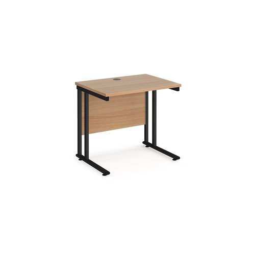 Maestro 25 straight desk 800mm x 600mm - black cantilever leg frame and beech top