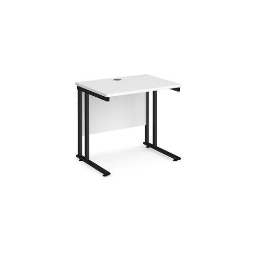 Maestro 25 straight desk 800mm x 600mm - black cantilever leg frame and white top