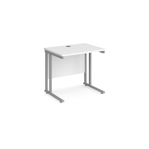 Maestro 25 straight desk 800mm x 600mm - silver cantilever leg frame and white top